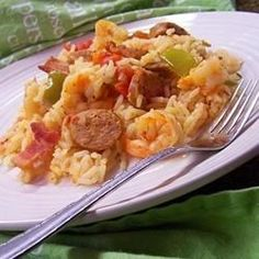 Bubba's Jambalaya Allrecipes.com This is JAM-packed full of flavor! I make this often.
