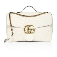 Gucci Gg Marmont Matelassé Chevron Leather Chain Shoulder Bag ($3,790) ❤ liked on Polyvore featuring bags, handbags, shoulder bags, white, chain strap handbags, chain strap shoulder bag, white purse, gucci handbags and gucci purse