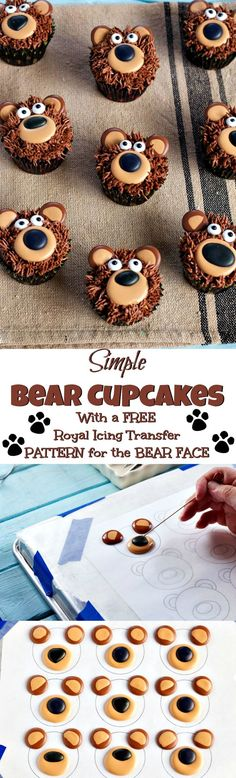 Bear Cupcakes - with Royal Icing Transfers - Kuchen 2019 Bear Cupcakes, Animal Cupcakes, Cupcake Cookies, Sugar Cookies, Owl Cookies, Royal Icing Transfers, Decoration Patisserie, Cakes And More, Cupcake Recipes