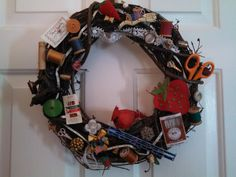 Vintage-Handmade Sewing Theme 14 inch Wreath-Full of Vintage Sewing Notions-Buttons-Wooden Spools, Cardinal-Mini-Sewing Machine-Door Hanger by 360VintageStyle on Etsy