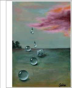 Frozen drop  06.2016, Acrylic on paperboard canvas, 20*30 cm #horizon#painting#clouds#sky#artiststudio#pink#orange#darkred#turquoise#ice#contemporarypainting#rain#droplet#pearls#gallery#gallerywall#art#acrylicpainting#contemporarypainting#artblog#artblogger#artiststudio#colors#forest