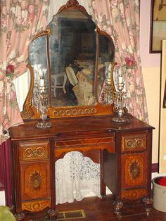 Antique Dressing Table 1930 1930s Vanity With Mirror Vintage