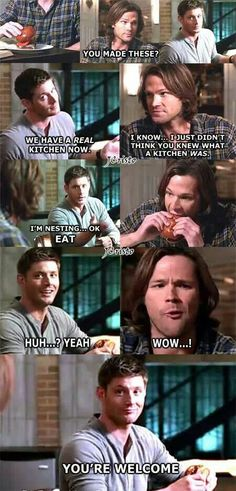 Dean making hamburgers.. Sam approves :3