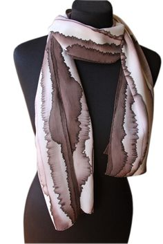 """Image of """"Brown line"""" hand-painted silk scarf by Asta Masiulyte"""