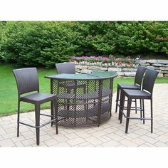 Elite Resin Wicker Half Round 5-Piece Bar Set by Oakland Living. $1519.99. Warranty: One year limited. Traditional lattice weave pattern. Stainless steel hardware. Fade, chip and crack resistant. Includes bar table and four bar stools. 90096-90054-5-CF Our all weather resin wicker sets are the perfect edition to any setting. Adds beauty, style and functionality to your home, garden or back yard patio. Ideal for indoors or out. This set is made of all weather resin wicker and ...
