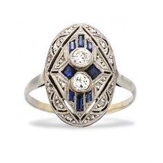Vintage Sapphire Diamond Engagement Ring | Art Deco Sapphire Engagement Ring