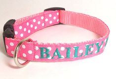 Personalized Dog Collar - Pink Polka Dots Dog Collar on Etsy, $28.00