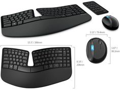 Microsoft Unveils New Generation Sculpt Ergonomic Keyboard and Mouse - The keyboard is wireless and uses 2.4 GHz technology and has a padded armrest and all the hotkeys for Windows 8 that you need. The Sculpt Ergonomic Mouse has a large integrated thumb rest and connects to the computer using wireless USB connectivity. $129.99 | Geeky Gadgets Business Technology, Computer Technology, Technology Gadgets, Tech Gadgets, Cool Gadgets, Science And Technology, The Computer, Computer Keyboard, Microsoft