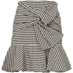 Veronica Beard Women's Gingham Picnic Box Mini Skirt ($395) ❤ liked on Polyvore featuring skirts, mini skirts, brown skirt, stripe skirts, striped short skirt, short mini skirts and striped skirts