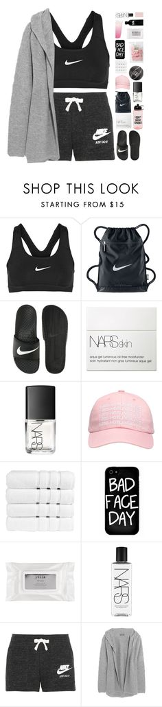 """""""Sporty."""" by marysilvs1 ❤ liked on Polyvore featuring NIKE, NARS Cosmetics, October's Very Own, Chanel, Christy, Local Heroes, Stila and N.Peal"""