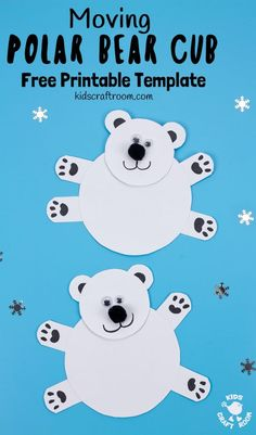 This Moving Polar Bear Cub Craft is just darling! Cradle it in your hands and move its head from side to side to bring it to life. It is so cute! Such a fun Winter craft for kids. (Free Printable Template) intercrafts via Bear Crafts Preschool, Animal Crafts For Kids, Winter Crafts For Kids, Winter Kids, Craft Kids, Winter Activities For Toddlers, Creative Activities For Kids, Bear Template, Printable Crafts