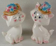 Vintage RARE 1960s Playful Cats Floral Hat Salt Pepper Shaker Set Japan | eBay