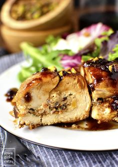 NEW from Iowa Girl Eats: Fig, Goat Cheese and Pistachio Stuffed Chicken with Fig-Balsamic Pan Sauce
