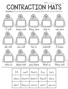 Free Christmas Math and Literacy Worksheets by Simply Creative Teaching Language Arts Worksheets, Literacy Worksheets, School Worksheets, Christmas Word Search, Christmas Words, First Grade Writing, 1st Grade Math, Grade 3, Contraction Worksheet