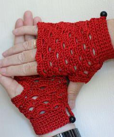 Red crochet gloves for summer
