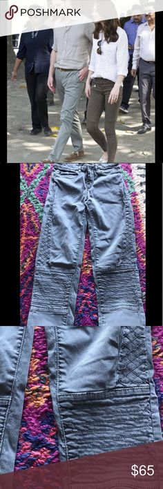 ZARA // MOTO TROUSERS AS SEEN ON KATE MIDDLETON Worn only once, these Zara trousers are badass. Same style as seen on Kate Middleton but in a blue/grey color instead of her green. Really cool details on knees and thighs. Zara Pants Skinny