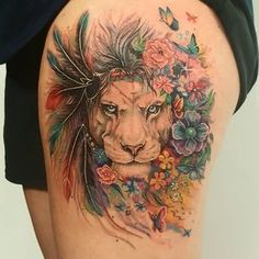 Lion with a mane of flowers Original painting by @pixie_cold #tattoo #liontattoo #flowertattoo #floraltattoo