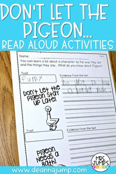 """Looking for some fun read aloud activities that you can use with the """"Don't Let the Pigeon..."""" books by Mo Willems? These activities are a great option, and are great for working on kindergarten reading comprehension skills!"""