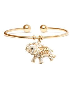 Look what I found on #zulily! Gold & Shell Elephant Cuff With Swarovski® Crystals #zulilyfinds