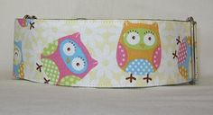 Spring Owls Martingale Dog Collar  2 Inch  fun silly by Jacqpot, $17.00