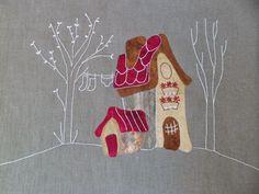 Aguja, Dedal, Tijera: CASITAS DE EVA GUSTEMS Patchwork Patterns, Applique Patterns, Applique Quilts, Embroidery Applique, Quilt Patterns, House Quilt Block, House Quilts, Quilt Blocks, Fabric Scraps