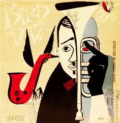 Album Cover design by David Stone Martin (1952) 'Bird and Diz', Mercury/Clef 512.