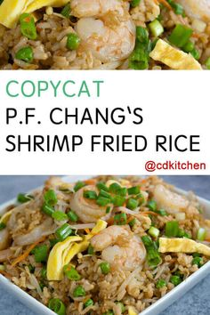 a great copycat recipe from PF Chang's for their popular shrimp fried rice. It uses pre-cooked shrimp making this a quick dish to prepare. The trick to getting it to taste like PF Chang's version is the addition of a little molasses in the sauce. Shrimp And Rice Recipes, Shrimp Dishes, Rice Dishes, Seafood Recipes, Cooking Recipes, Prawn Recipes, Fondue Recipes, Fried Rice Recipe Chinese, Pf Changs Fried Rice Recipe