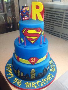 3 tier superman cake 4th birthday boy