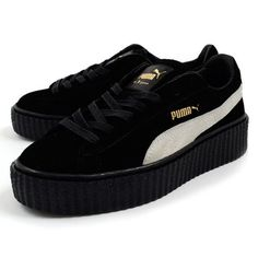 new product 4bdc2 86204 PUMA Suede Creepers Rihanna Fenty Black Star White Gold Womens Trainers  36100501 UK 4 US 6.5 EUR 37   eBay