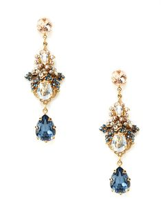 Blue Multi Crystal Floral Drop Earrings by BIJOUX HEART at Gilt