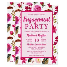 Girly Pink Flowers Pretty Engagement Party Invite Custom #babyshower invitations - Make your special day with these personalized #baby #shower #invitations change the colors font and images and make them your own.