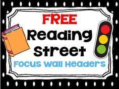 "If you are using Reading Street this year, please enjoy this freebie to get your focus wall started!  Even if you are not using Reading Street, some of the titles may apply to what you are teaching.  Buy my <a href=""http://www.teacherspayteachers.com/Product/Kindergarten-Reading-Street-Focus-Wall-833463"" target=""_blank"">Kindergarten Reading Street Focus Wall</a> product to get all the goods for the entire year!  These header cards are from that set!"