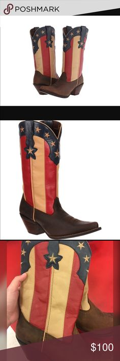 Durango American flag cowboy boots Brand new Durango cowboys boots. Super cute and very patriotic was bought as a gift and I never wore them. Pointed toe and American flag details. Size 11 in women's. Perfect for the rodeo, country concert or just everyday.  Shoes