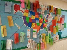 50 states bulletin board with student-created brochures