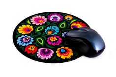 Polish Folk Art Round Mouse Pad - Black