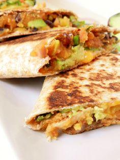 Meatless Monday. Sweet potato & black bean quesadilla with avocado, cilantro, jalapeno and lime. Healthy, yummy!