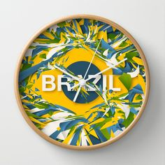 Abstract Brazil Wall Clock by Danny Ivan - $30.00