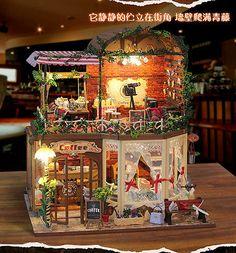 Dollhouse DIY Kit w/ Light Ria's Magic Time Bakery Cafe Cake Coffee Store Shop 4