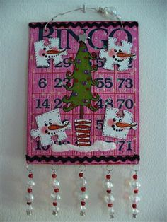 Altered Art Ornament Winter Holiday Gift Swap by community member Bbellart #snowman #holiday