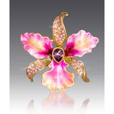 595c9804754d Jay Strongwater Clarice Orchid Pin (260 CAD) ❤ liked on Polyvore featuring  jewelry