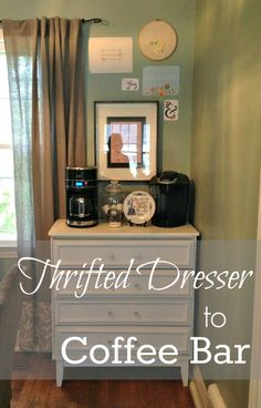 It's Our Pinteresting Life: Thrifted Dresser to a Coffee Bar. I really want to open a bed and breakfast when I'm older... Oh the possibilities