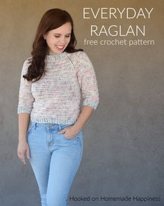 The Everyday Raglan Crochet Pattern is quick, easy, and very customizable. I used DK weight yarn with a length sleeve to make this sweater perfect for the warm fall we have here in Arizona. Crochet Tank Tops, Crochet Cape, Crochet Shirt, Free Crochet, Crochet Vests, Crochet Sweaters, Crochet Jumpers, Crochet Designs, Crochet Patterns
