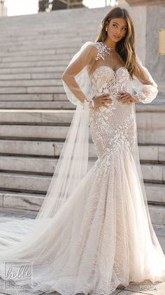 more gorgeous wedding dresses by clicking on the photo BERTA Wedding Dresses 2019 - Athens Bridal Collection. Lace fitted mermaid elegant wedding dress with long sleeves open back and cape bridal accessory Country Wedding Dresses, Bridal Wedding Dresses, Lace Weddings, Dream Wedding Dresses, Wedding Frocks, Destination Weddings, Wedding Dress Cape, Wedding Garters, Bridesmaid Dresses
