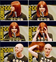 -gotta love that Karen Gillan is so committed she shaved her head to play Nebula in Guardians of the Galaxy! lol- she looks good bald.<<she looks good in anything/hair anyways [im kinda jelly] Marvel Heroes, Marvel Avengers, Shave Her Head, Cut Her Hair, Dc Memes, Marvel Movies, Marvel Actors, Celebs, Celebrities