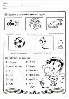 atividades-de-ingles-para-imprimir-escreva-o-nome-dos-brinquedosQualifique está postagem Printable Animals, Printable Crafts, Literacy Worksheets, Printable Worksheets, Games For Kids, Activities For Kids, Free Printable Word Searches, English Exercises, English Worksheets For Kids