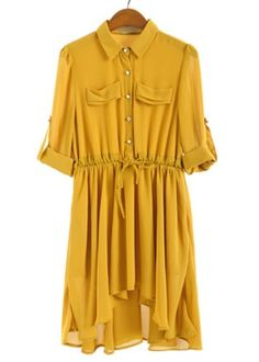 Yellow Lapel Puff Sleeve Pleated Chiffon Dress - Sheinside.com #SheInside