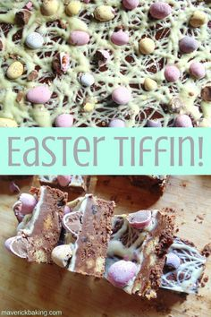Easter Tiffin; crunchy British rocky road style bars full of chocolate, crunchy biscuits, easter treats and dried fruit!