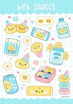 AJ Tuana Cute Food Drawings, Cute Little Drawings, Cute Kawaii Drawings, Cute Animal Drawings, Kawaii Stickers, Cute Stickers, Cute Food Art, Cute App, Dibujos Cute
