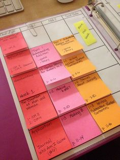 Post-its in the planner! (for unexpected changes in due dates. Makes color coding so easy!) Another pinner uses Washi tape.