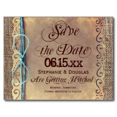 Rustic Country Vintage Save the Date Postcards